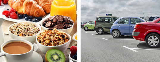 breakfast and parking